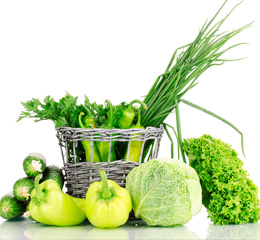 Овощи зеленого цвета